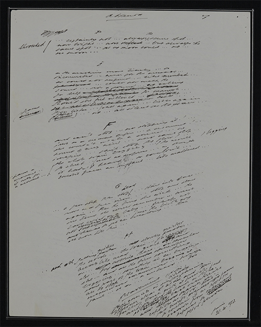 Samuel Beckett, holograph manuscript of Not I with handwritten alterations by the author, 1972