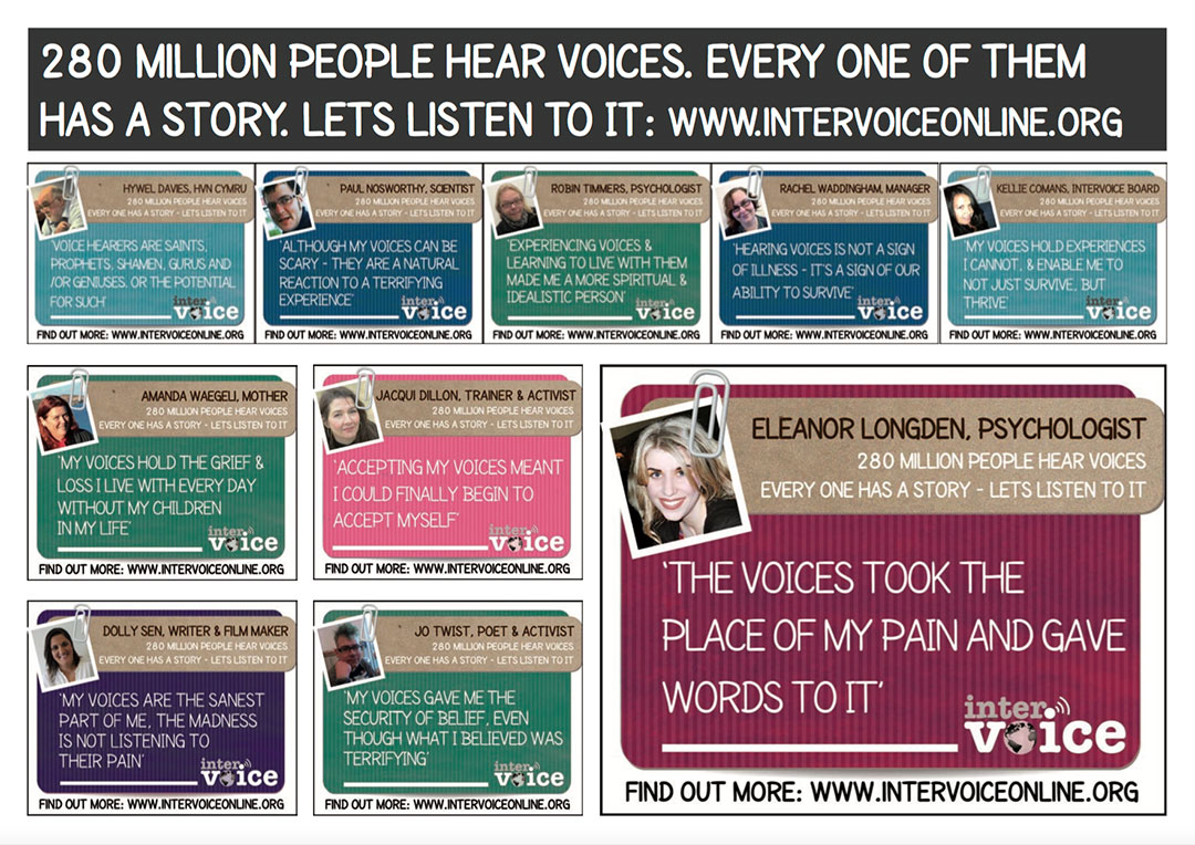 Intervoice World Hearing Voices Day postcards