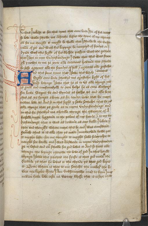 Revelations of Divine Love, Julian of Norwich, f.99r